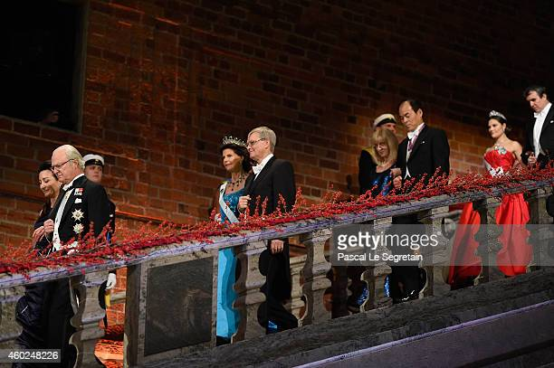 Professor MayBritt Moser King Carl XVI Gustaf of Sweden Queen Silvia of Sweden Chairman of the board of the Nobel Foundation Professor CarlHenrik...