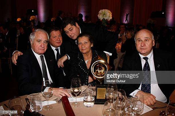 Professor Menachen Magidor with attorney Simone Veil and family her husband and two sons Jean Pierre Francois attend the Scopus Award dinner given by...
