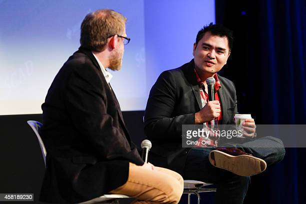 SCAD professor of film and television Michael J Chaney and 'Documented' director Jose Antonio Vargas speak on stage during a panel discussion at the...