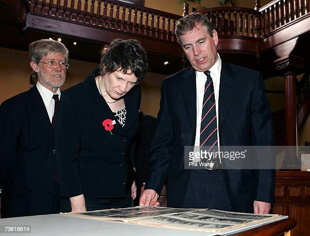 Professor Peter Davis New Zealand Prime Minister Helen Clark and Prince Andrew Duke of York view the B Company's 28th Maori Battalion Exhibition at...