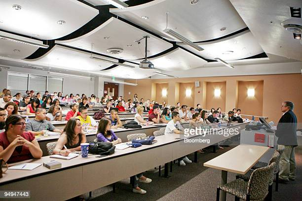 Professor Peter Pizor, right, teaches students in his political science class at the University of Nevada, Las Vegas in Las Vegas, Nevada, U.S., on...