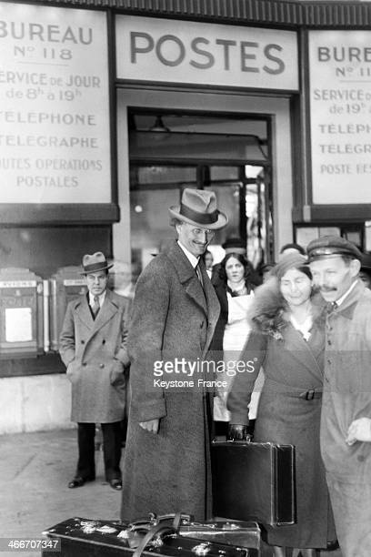 Professor Piccard at his arrival at the Gare Saint Lazare in Paris France on March 31 1933 He arrived before with many other celebrities in Le Havre...