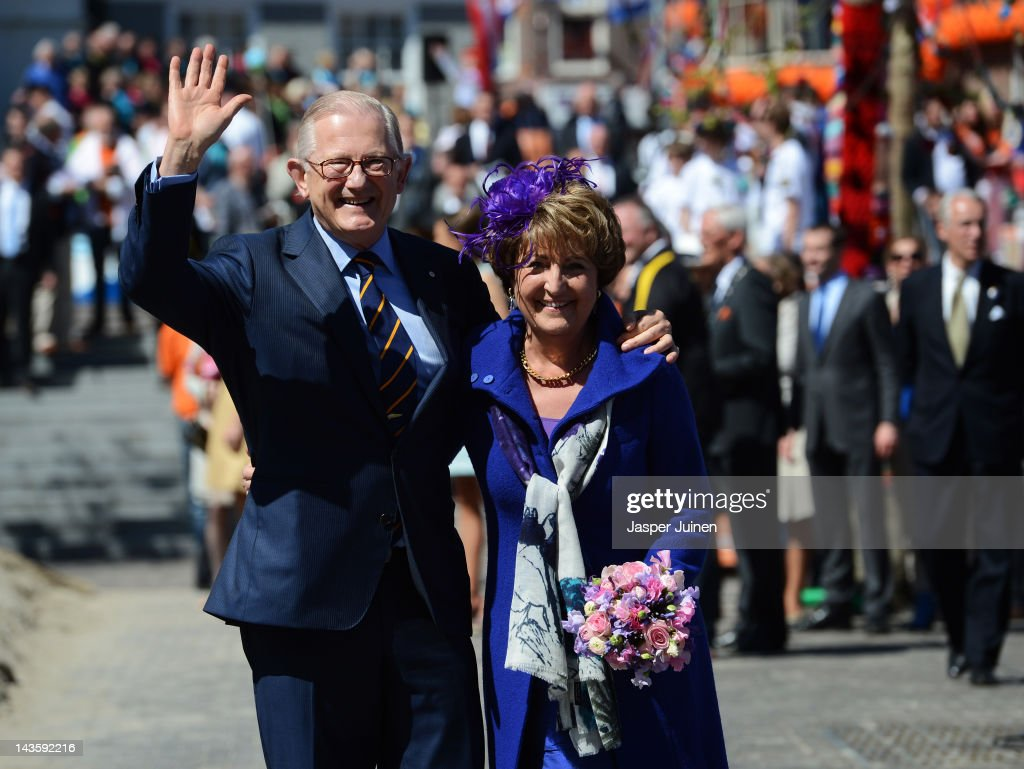 Professor Pieter van Vollenhoven (L) waves besides his wife Princess Margriet during the traditional Queens Day celebrations on April 30, 2012 in Veenendaal, Netherlands. Parties and concerts are held across the the Netherlands as members of the Dutch royal family oversee festivities.