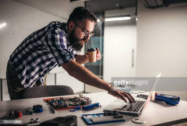 professor preparing project for students - computer repair stock pictures, royalty-free photos & images