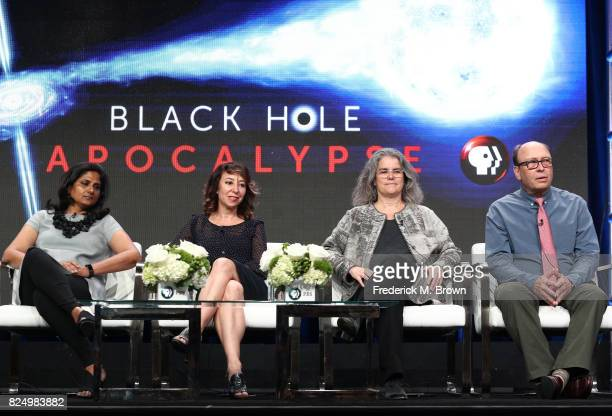 Professor Priyamvada Natarajan program host Janna Levin professor Andrea Ghez director/producer/writer Rushmore DeNooyer of 'Black Hole Apocalypse'...