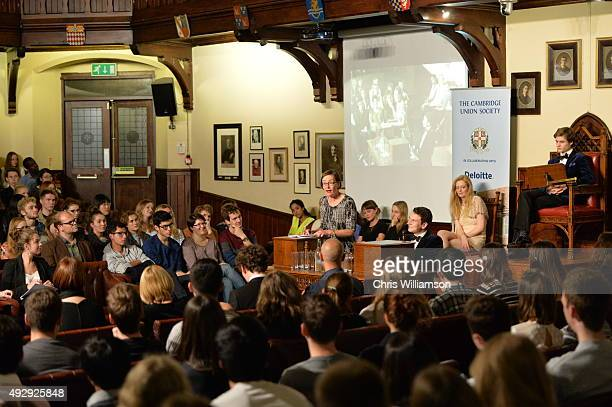 Professor Rae Langton during a debate at The Cambridge Union on October 15 2015 in Cambridge United Kingdom The Cambridge Union were dabting 'This...