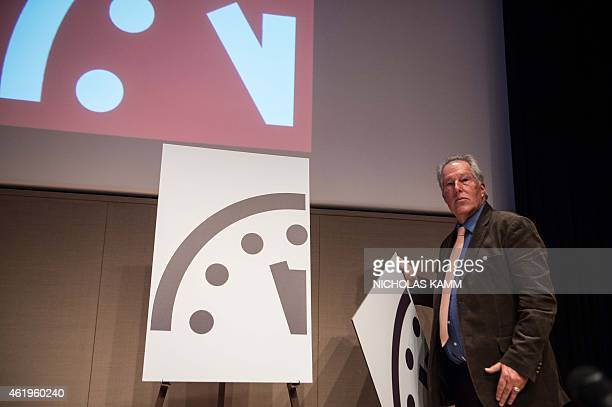 Professor Richard Somerville of the University of California in San Diego unveils the Doomsday Clock showing that the world is now three minutes away...
