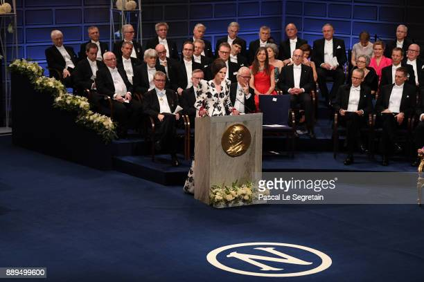 Professor Sara Danius introduces the Nobel Prize in Literature during the Nobel Prize Awards Ceremony at Concert Hall on December 10 2017 in...