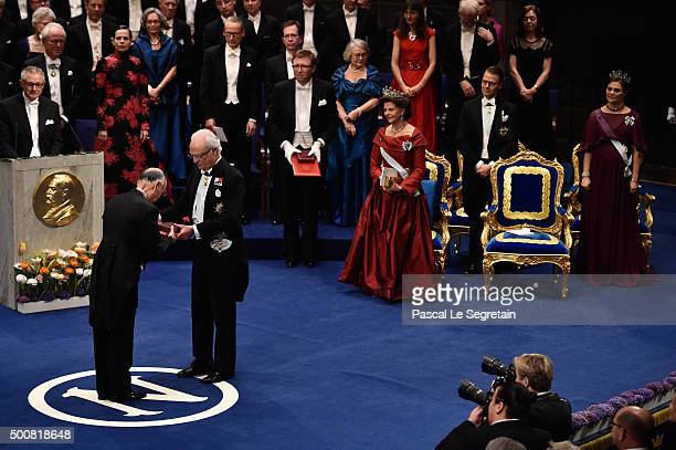 Professor Satoshi Omura laureate of the Nobel Prize in Physiology or Medicine acknowledges receives his Nobel Prize from King Carl XVI Gustaf of...