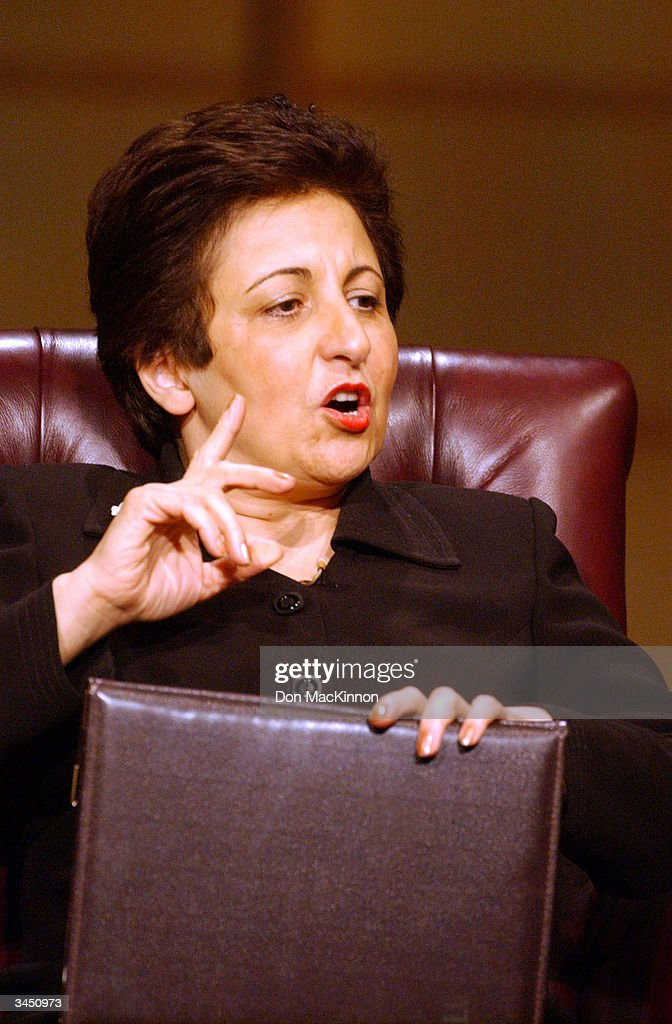 Professor Shirin Ebadi addresses the audienceat the University of British Columbia April 20, 2004 in Vancouver, British Columbia. Nobel Peace Prize Laureates, His Holiness the 14th Dalai Lama, Archbishop Desmond Tutu and Professor Shirin Ebadi, with Rabbi Zalman Schachter-Shalomi and Dr. Jo-ann Archibald took part in round table dialogue where they discussed balancing educating the mind with educating the heart.