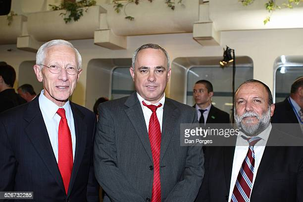 Professor Stanley Fischer former Governor of the Bank of Israel posing with Yuval Steinitz former Finance Minister and Yitzhak Cohen former Deputy...