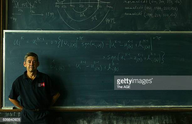 Professor Stephen Clarke is pictured with a formula he has written to win footy tipping comps Picture taken at Swinburne University in Melbourne 15...