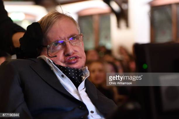 Professor Stephen Hawking addressing The Cambridge Union on November 21 2017 in Cambridge Cambridgeshire