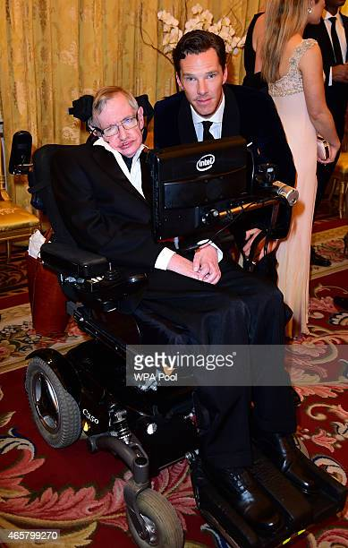 Professor Stephen Hawking and Benedict Cumberbatch attending a reception and dinner in support of Motor Neurone Disease Association at Buckingham...