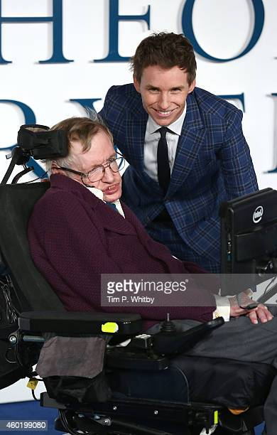 Professor Stephen Hawking and Eddie Redmayne attend the UK Premiere of The Theory Of Everything at Odeon Leicester Square on December 9 2014 in...