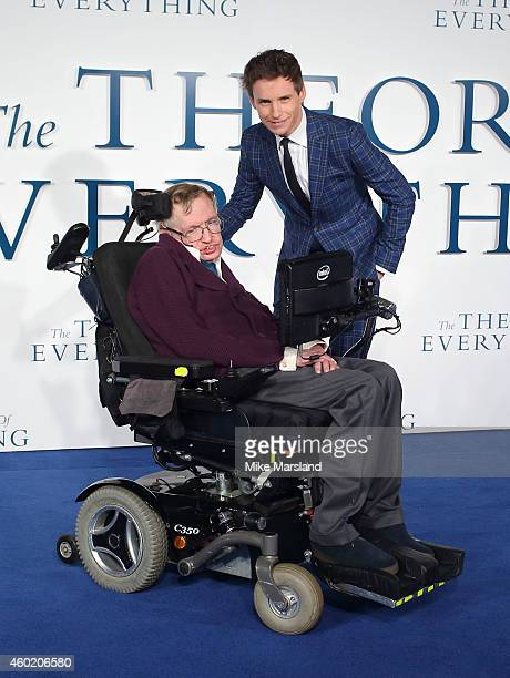 """Professor Stephen Hawking and Eddie Redmayne attend the UK Premiere of """"The Theory Of Everything"""" at Odeon Leicester Square on December 9, 2014 in..."""