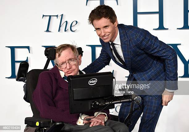 Professor Stephen Hawking and Eddie Redmayne attend the UK Premiere of 'The Theory Of Everything' at Odeon Leicester Square on December 9 2014 in...