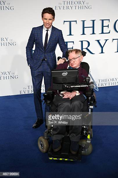 """Professor Stephen Hawking and Eddie Redmayne attends the UK Premiere of """"The Theory Of Everything"""" at Odeon Leicester Square on December 9, 2014 in..."""