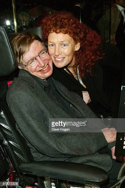 Professor Stephen Hawking and his wife Elaine Mason arrive at the European Premiere of Lemony Snicket's A Series Of Unfortunate Events at the Empire...