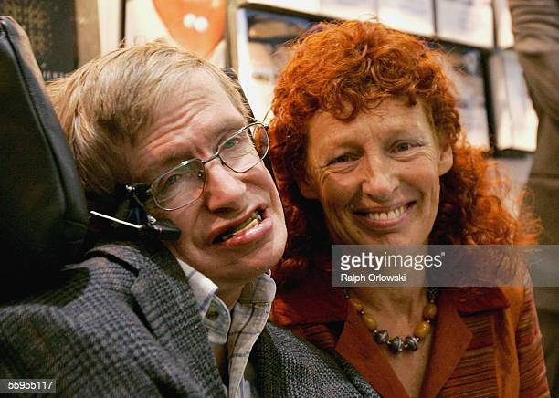 Professor Stephen Hawking and his wife Elaine Mason attend the international bookfair on October 19, 2005 in Frankfurt, Germany. South Korea is the...