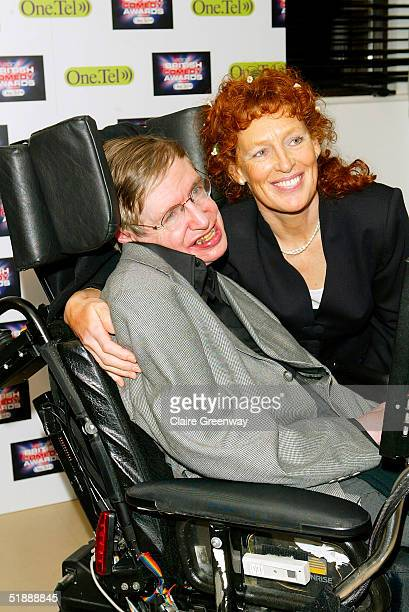 Professor Stephen Hawking and his wife Elaine Mason pose in the Awards Room at the British Comedy Awards 2004 on December 22 2004 at London...