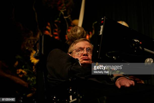 Professor Stephen Hawking attends the lecture Universe in Muizenberg at the African Institute for Mathematical Sciences on May 11 2008 in Cape Town...