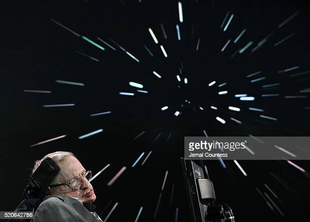 Professor Stephen Hawking attends the New Space Exploration Initiative Breakthrough Starshot Announcement at One World Observatory on April 12 2016...