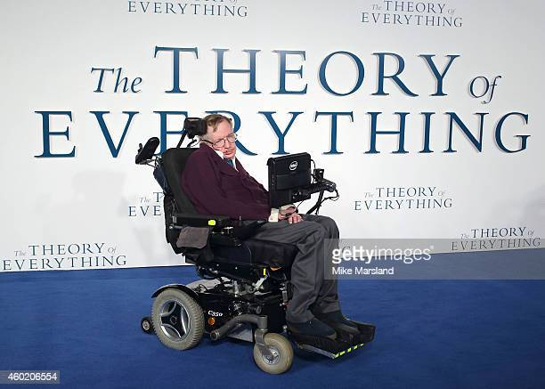 """Professor Stephen Hawking attends the UK Premiere of """"The Theory Of Everything"""" at Odeon Leicester Square on December 9, 2014 in London, England."""
