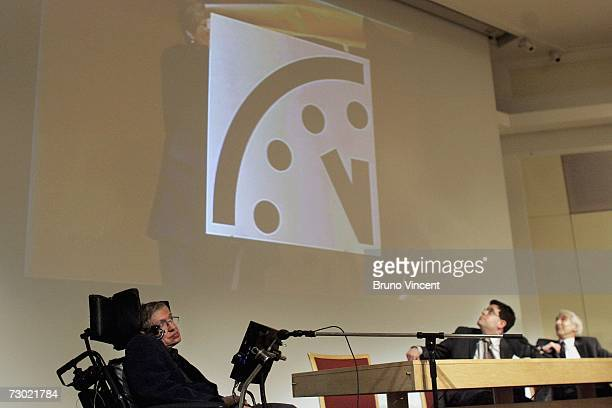Professor Stephen Hawking delivers his speech at the release of the Bulletin of the Atomic Scientists on January 17 2007 in London England A group of...
