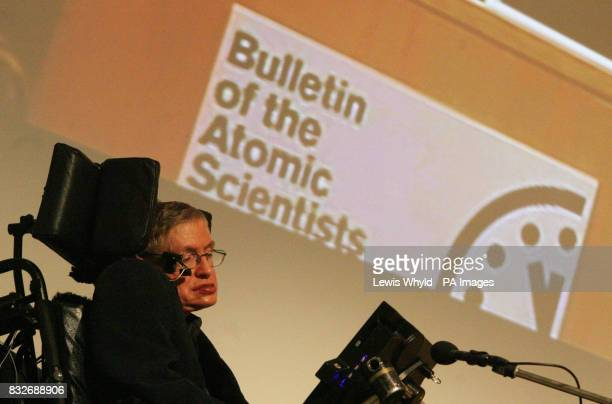 Professor Stephen Hawking during the joint press conference on the Doomsday Clock which represents the risk of nuclear apocalypse at the Royal...
