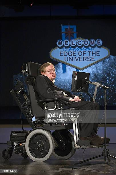 Professor Stephen Hawking gives a lecture entitled 'Why We Should Go Into Space' during the 50 Years of NASA lecture series at George Washington...