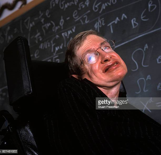 Professor Stephen Hawking in his office, Cambridge. Hawking is the Lucasian Professor of Mathematics at the University of Cambridge, and a Fellow of...