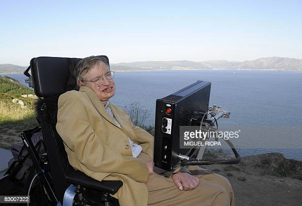 Professor Stephen Hawking is pictured during a visit to Cape Finisterre some 90 km from Santiago northwestern Spain on September 25 2008 The name of...