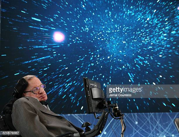 Professor Stephen Hawking onstage during the New Space Exploration Initiative 'Breakthrough Starshot' Announcement at One World Observatory on April...