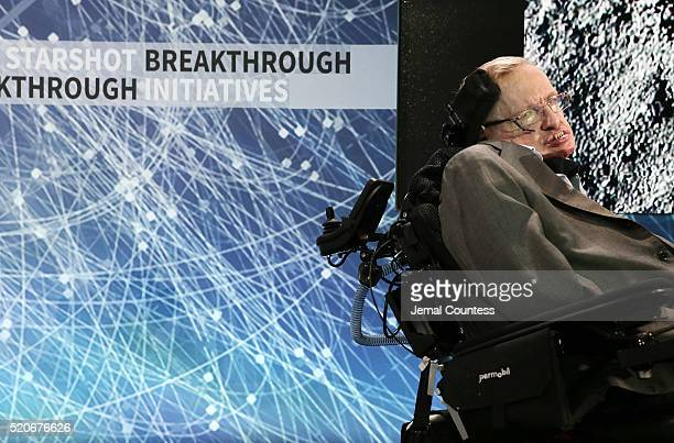 Professor Stephen Hawking onstage during the New Space Exploration Initiative Breakthrough Starshot Announcement at One World Observatory on April 12...