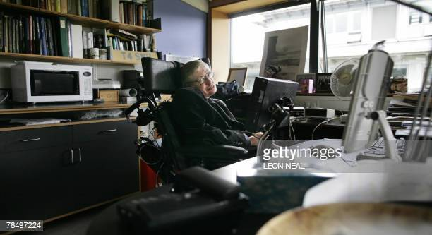 Professor Stephen Hawking poses for photographs in his office at The Centre for Mathematical Sciences in Cambridge in central England 03 September...
