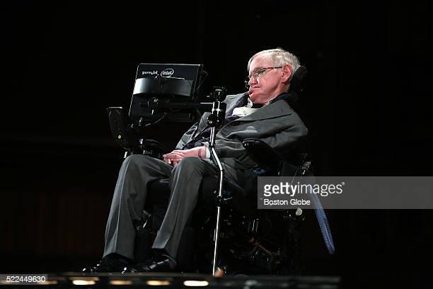 Professor Stephen Hawking speaks at Harvard's Sanders Theatre on Monday April 18 2016
