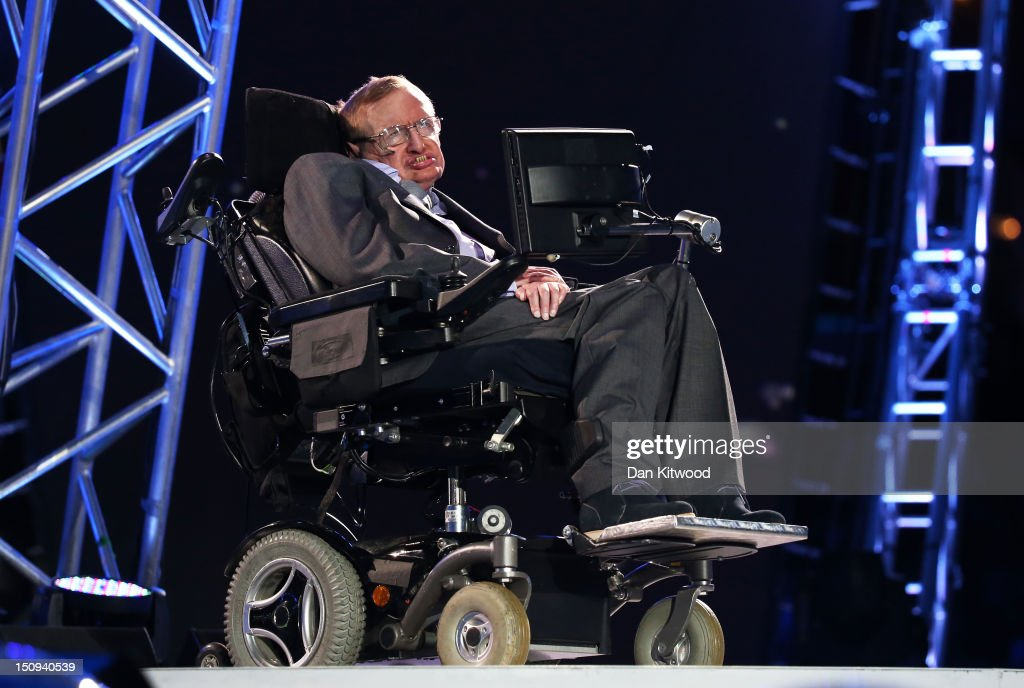 Professor Stephen Hawking speaks during the Opening Ceremony of the London 2012 Paralympics at the Olympic Stadium on August 29, 2012 in London, England.