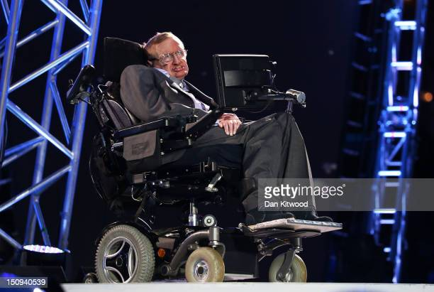 Professor Stephen Hawking speaks during the Opening Ceremony of the London 2012 Paralympics at the Olympic Stadium on August 29, 2012 in London,...