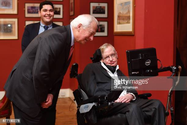 Professor Stephen Hawking with the Prince of Liechtenstein HansAdam II at The Cambridge Union on November 21 2017 in Cambridge Cambridgeshire