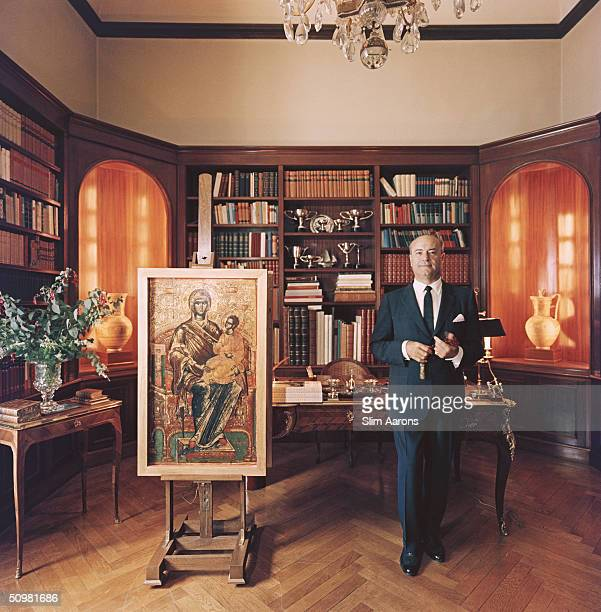 Professor Stratis G Andreadis President and Chairman of the Board of the Commercial Bank of Greece in his study in Athens 1961 He is also a shipowner...