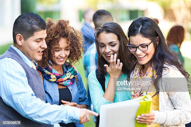 professor talking to diverse group of high school girls - direction stock pictures, royalty-free photos & images