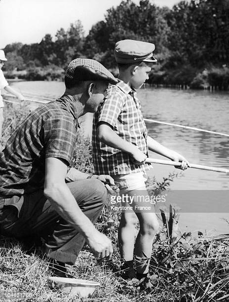 Professor Teching To A Pupil The Fishing In Montereau Circa 1965