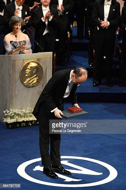 Professor Thomas C Sudhof laureate of the Nobel Prize in Physiology or Medicine acknowledges applause after he received his Nobel Prize from King...