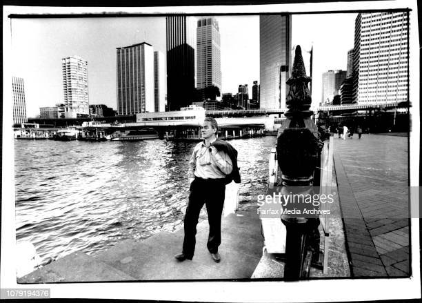 Professor Winston Barnett at Circular Quay who proposes to extend the Paved area and construct a building that would obscure the Chill expressway...