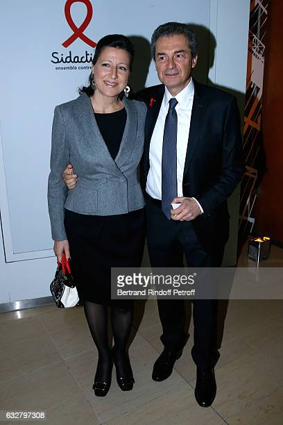 Professor Yves Levy and his wife attend the Sidaction Gala Dinner 2017 Haute Couture Spring Summer 2017 show as part of Paris Fashion Week on January...