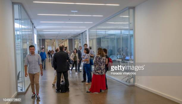 Professors and students outside classrooms at NOVA School of Business and Economics new campus on October 04 2018 in Carcavelos Portugal Nova SBE is...