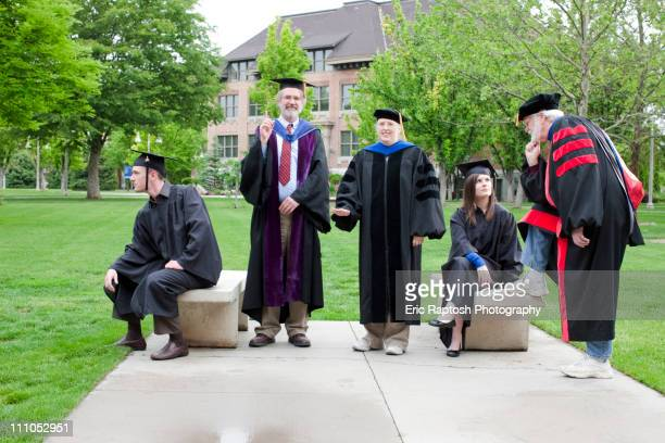 professors and students waiting for graduation - school of athens stock pictures, royalty-free photos & images