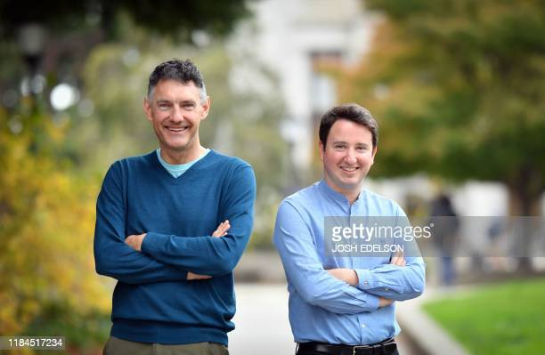Professors of Economics Emmanuel Saez and Gabriel Zucman stand for a photo on the University of California Berkeley campus in Berkeley California on...