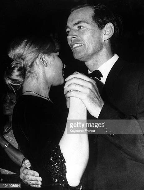 Professpr Christian BARNARD a South African doctor specializing in heart transplants dancing with a young woman at a bal in Munich on January 31 1968
